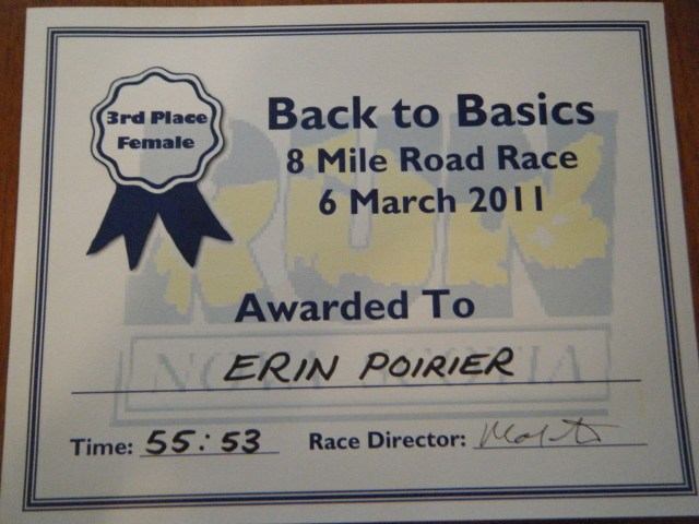 3rd Place Certificate for Run Nova Scotia race