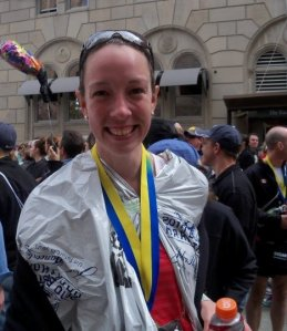 Erin Poirier at the finish line of the 2010 Boston Marathon