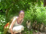 Monkeys and a volunteer nurse in West Africa