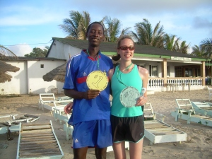 2 running partners- a girl from Canada and a boy from Gambia
