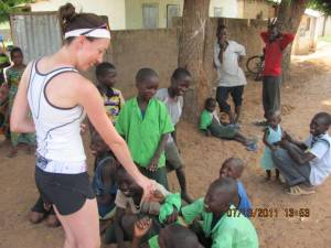 A Canadian nurse and young kids in The Gambia, Africa