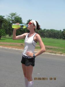 Running in Africa drinks Gatorade