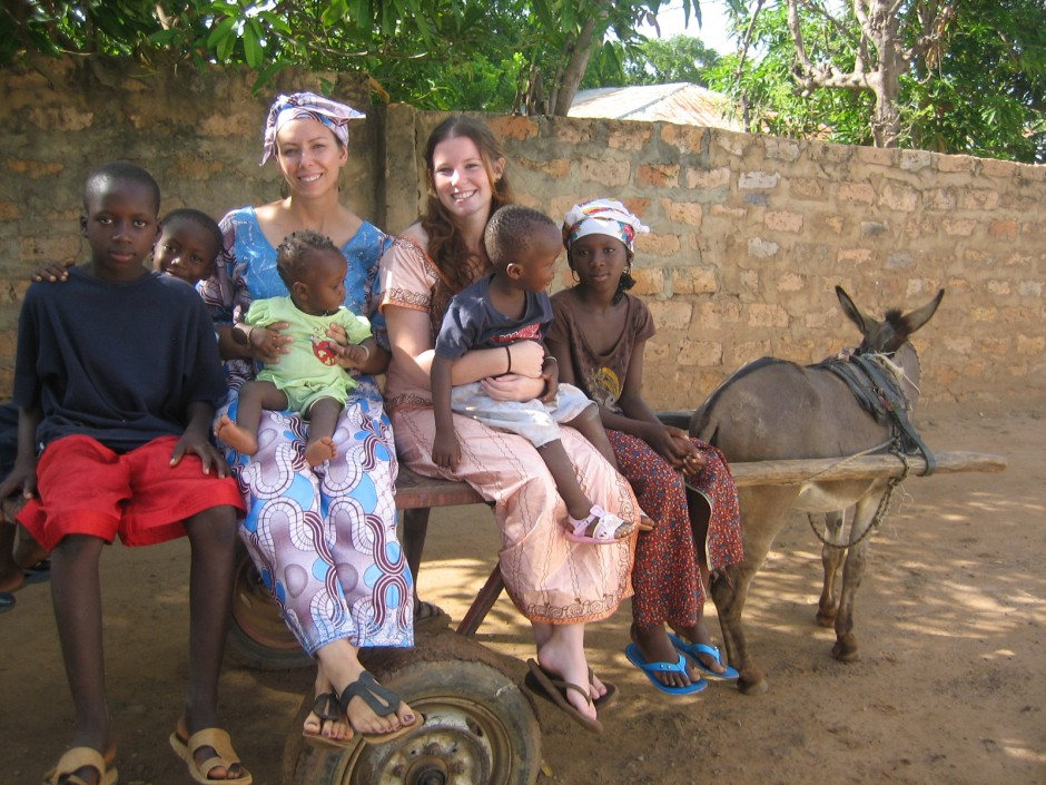 A canadian on a donkey taxi in The Gambia, Africa