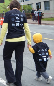 A mom and son walk for Team Love4Gambia in the Blue Nose Marathon