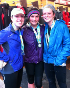 Three x 21km complete.  Congrats to Jean and Julie (right and left) for finishing their first half marathons!