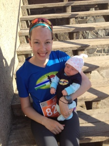 mom and baby at race