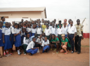 A quick photos with all of the students from the four schools in Basse that ran through town with us (3.5km!)