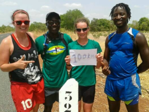 At the 100km mark!  !00km completed all in the name of peer health education in The Gambia!