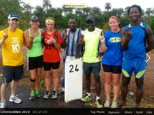Start to Day 15 - Steve, Rita, Jenn, Nyakassi, Kebba, Cielianna, and Spider (Pa is taking the photo)